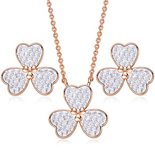 (CDE ''Lucky Clover Rose Gold Plated Jewelry Set Embellished with Crystals from Swarovski Pendant Necklace and Earrings for Women, Fashion Jewelry Gift for for Mother Day with Well Packing)