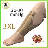 Presadee New Big Tall Calf Sleeve with Zipper 20-30 mmHg Compression Extra Wide Shin Energize Leg Swelling Circulation (Beige, 3XL)