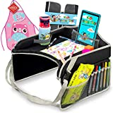 Kids Travel Tray – Portable Car Seat Snacks & Play Activity Desk for Toddlers - (13.6' X 15.7') - Waterproof and Sturdy Surface - Bonus: Kid Apron