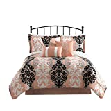 Carmela Home Downton 7-Piece Reversible Comforter Set, King, Coral