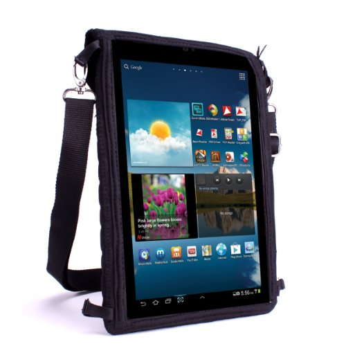 Rugged Travel Sleeve by USA Gear with Capacitive Touch Screen Protector , Adjustable Shoulder Strap , Protective Padded Design - Works with Nextbook Flexx 10.1 Tablet , Lenovo IdeaPad Tablet K1 & More