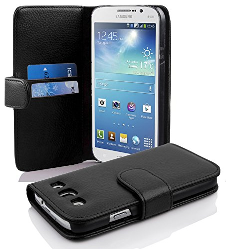 Cadorabo Case works with Samsung Galaxy MEGA 5.8 in OXID BLACK (Design BOOK STRUCTURE) – with 2 Card Slots – Wallet Case Etui Cover Pouch PU Leather Flip by Cadorabo