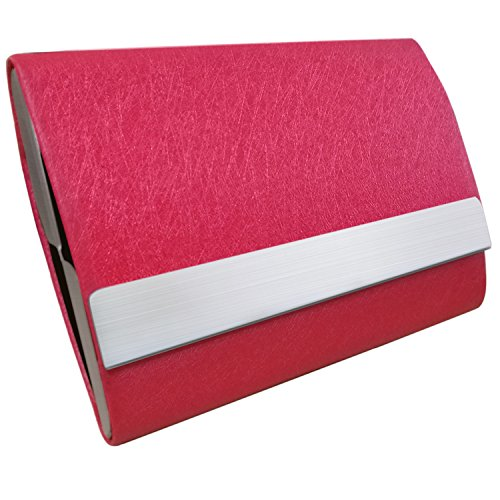 - Bolier Professional Business Card Holder 100% Handmade Leather Business Card Case for Men and Women Red