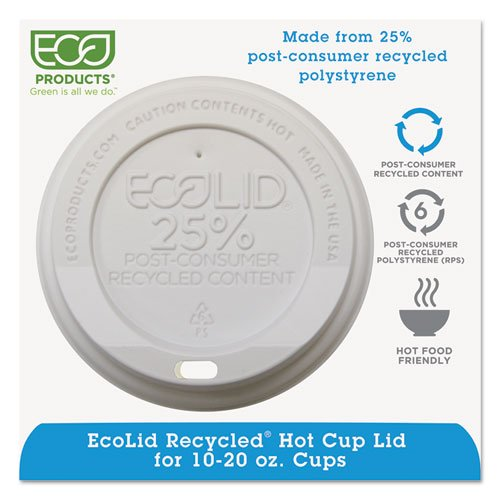 Eco-Products Eco-Lid 25% Recycled Content Hot Cup Lid, Fits 10-20 oz Cups - Includes 1000 per case.