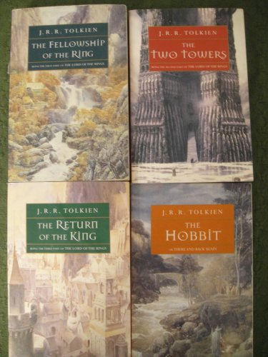 Lord of The Rings 4 volume Set by J. R. R. Tolkien: The Fellowship of the Ring; The Two Towers; The Return of the King; The Hobbit