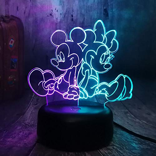 - New Cartoon Lovely Mickey&Minnie Mouse Multicolor 3D RGB LED Night Light Mixed Dual Color Change Desk Lamp Christmas Kids Gift(Mix Mickey Minnie)
