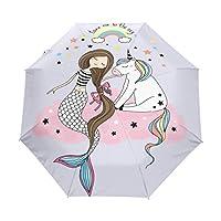 Naanle Little Unicorn Mermaid Cloud Rainbow Auto Open Close Foldable Travel Umbrella