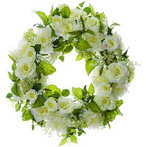 (Mikash 26 Peony, Rose Lily of The Valley Silk Flower Hanging Wreath -Cream/Green (pa | Model WRTH - 356 )
