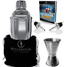 SHIKSHOOK Cocktail Shaker 25oz & Double Jigger 1oz \ 2oz & 2 Liquor Pourers - Professional Bartender Kit in a Accessories Bag and E- Book: 150 Recipes - Martini Drink Mixer Barware Tools Supplies