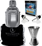 SHIKSHOOK Cocktail Shaker Set - Includes Martini Shaker, Double Jigger 1ozoz And 2 Liquor Pourers & Drink Mixer E- Book: 150 Bartender Recipes