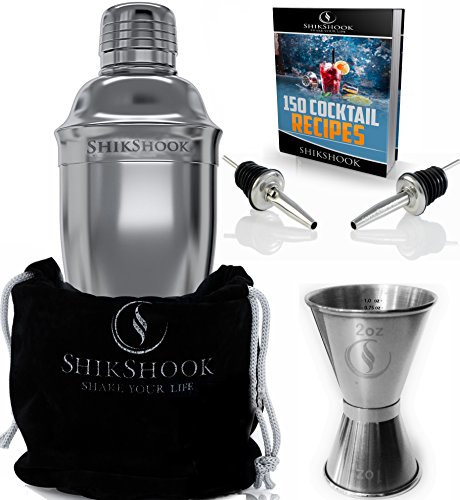 SHIKSHOOK Cocktail Shaker Set - Includes Martini Shaker, Double Jigger 1ozoz And 2 Liquor Pourers & Drink Mixer E- Book: 150 Bartender Recipes by SHIKSHOOK