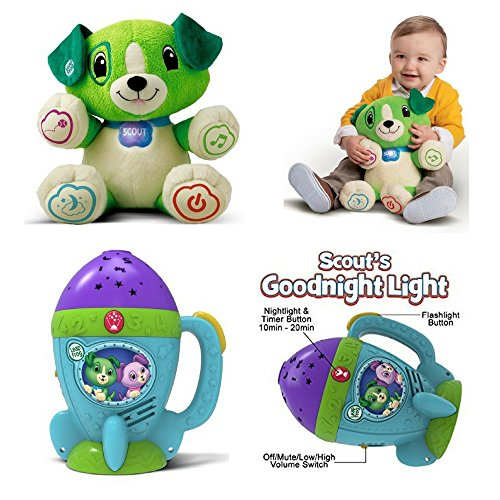 Meet Scout! Lovable My Pal and It's 2-in-1 Goodnight & Flashlight Projector, A LeapFrog Toy Bundle, Music, Educational, Early Learning and Basic Concepts, Imaginative Play, Toddlers, Kids Discovery (Violet Scout)