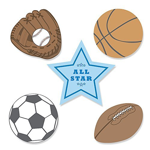 All Star Sports - DIY Shaped Baby Shower or Birthday Party Cut-Outs - 24 Count (Baseball Cutout)