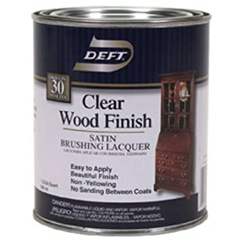 Deft Interior Clear Wood Finish Satin Brushing Lacquer, Quart