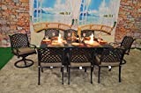 "fire pit dining table Nassau Cast Aluminum Powder Coated 9pc Dining Set with 44""x84"" Propane Fire Pit Double Burner Dining Table - Antique Bronze"