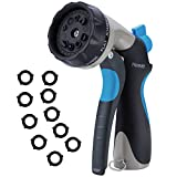 Homitt 10 Patterns Hose Nozzle, Leak Free Metal Garden Hose Spray Nozzle with Slip Resistant Rubberized Grip and 10 Washers for Garden Life and Washing Car and Pet