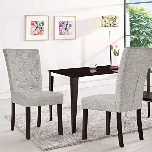Merax Fabric Dining Set of 2 Sturdy Wood Legs Leisure Padded Chair, Beige