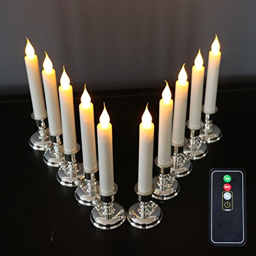 Set of 10 Flameless White Taper Window Candles with Removable Silver Candleholders with Timer and Remote, Batteries Included by Enchanted Spaces (Image #7)