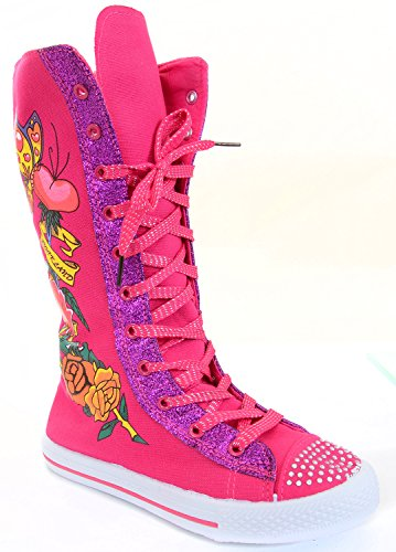 Hearts Butterflies Tattoo Girls Knee High Sneaker Boots (Heart & Butterfly Tattoos)