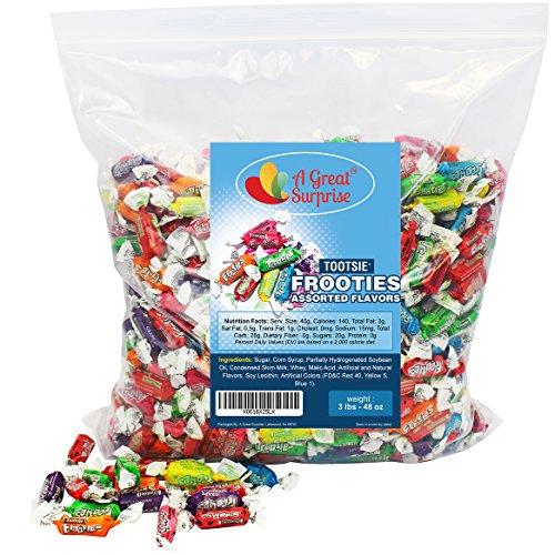 (Tootsie Rolls - Tootsie Roll Fruit Chews - Tootsie Frooties, Assorted Flavored Taffies, 3 LB Bulk)