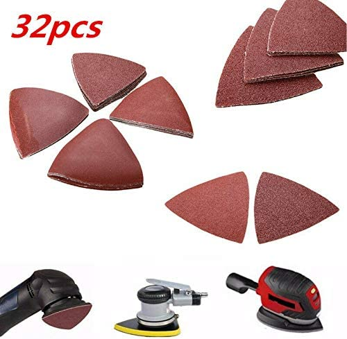 32pcs 3-1//8 Universal Triangular Sandpaper Sand Paper For Oscillating Tool