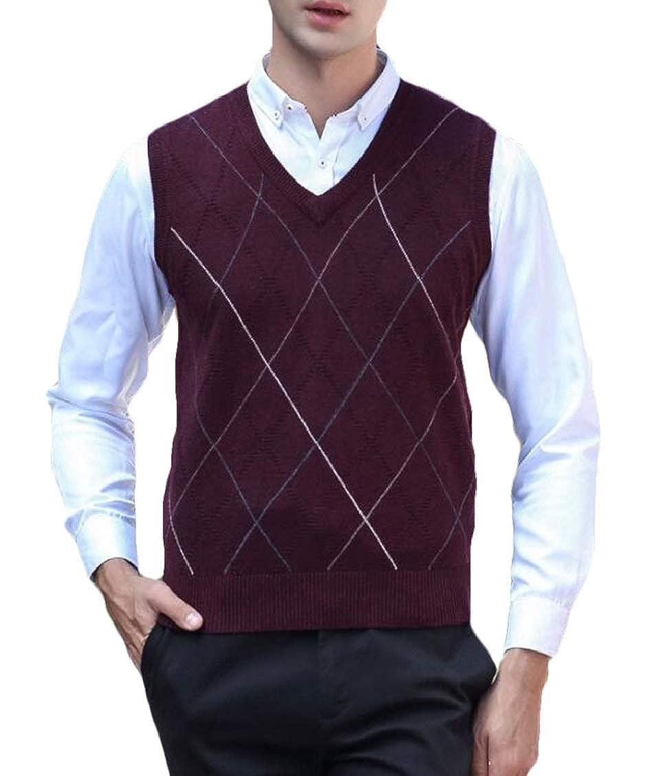 SELX Men Waistcoat Rhomb Print V-Neck Pullover Knit Sweater Vest