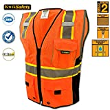 KwikSafety Class 2 Executive Deluxe Safari Safety Vest | Construction Security Motorcycle Bicycle Traffic Emergency | Lightweight High Visibility Reflective for both Men & Women | Orange S/M