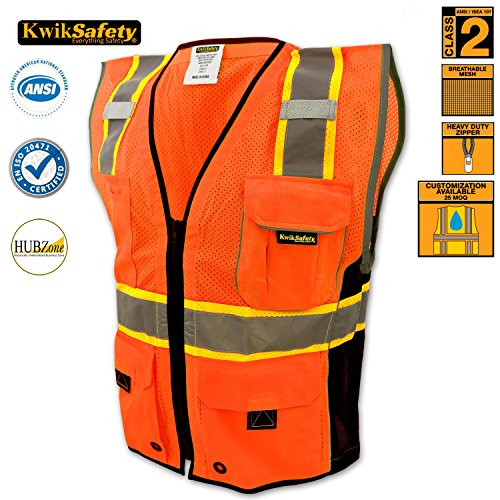 KwikSafety Class 2 Executive Deluxe Safari Safety Vest | Construction Security Motorcycle Bicycle Traffic Emergency | Lightweight High