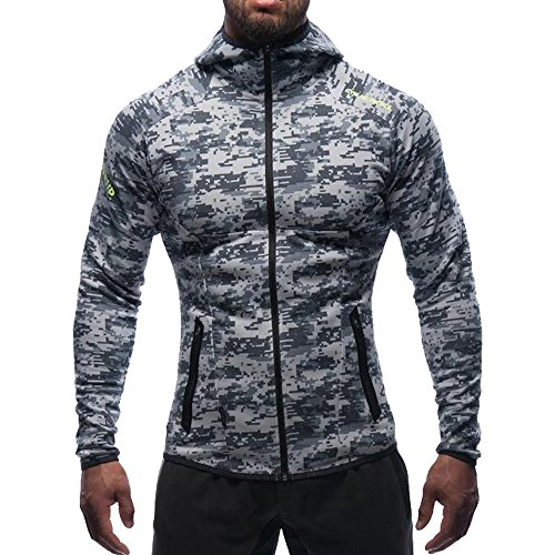 EVERWORTH Men's Gym Workout Hoodie Jacket Fitted Training Bodybuilding Running Active Sweatshirts with Zipper Pockets (US Medium/Tag XL(Chest:39