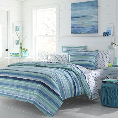 LO 3 Piece Turquoise Navy Blue Nautical Rugby Stripes Comforter Set Full Queen, Blue Color Block Coastal Ombre Cabana Stripes Adult Bedding Master Bedroom Reversible Contemporary Colorful, (Contemporary Coastal Stripe)