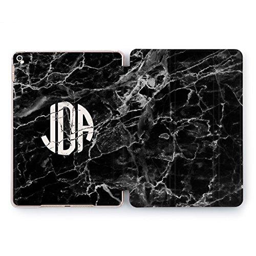 - Wonder Wild Monogram iPad 5th 6th Gen Mini 1 2 3 4 Air 2 Custom Pro 10.5 12.9 2018 2017 Black Marble 9.7 inch Smart Stand Cover Stone Dark Design Case Minimalist Individual Personalized Letter Unique