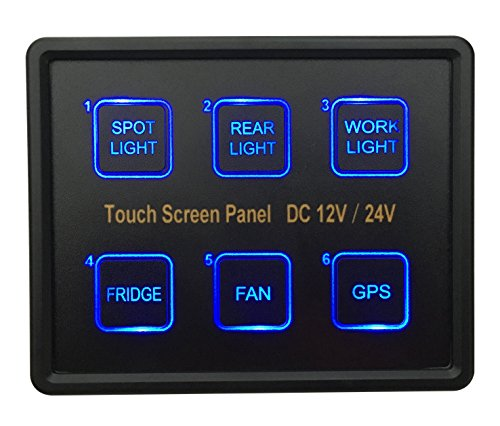 BANDC 12V/24V 6 Gang Blue LED Capacitive Sense Touch Control Panel Box for Car Marine Boat Caravan