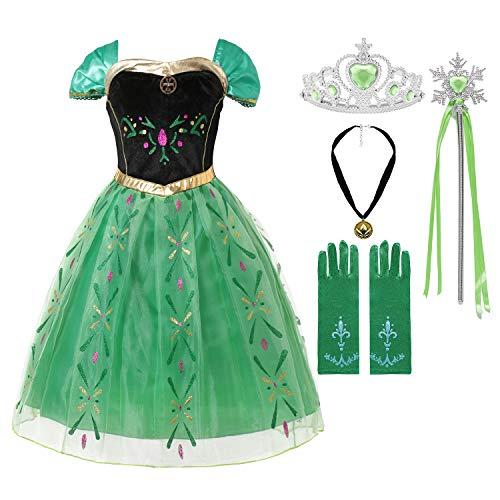 MUABABY Girls Ice Snow Queen Sequin Princess Upgrade Deluxe Costume Long Sleeve Elsa (603 Green, 3-4 Years) ()