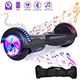 "VEVELINE 6.5"" Hoverboard Self Balancing Scooter Hover Board Scooter with UL 2272 Certified, Built-in Bluetooth Speaker,LED Frontlights,Colorful LED Side Lights,Free Carry Bag,Flashing Wheel(Black)"