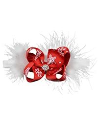 QtGirl Christmas White Feather Headband for Baby Girls Kids Holiday Hair Accessories