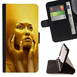 Gold Face Young Woman Fashion Bling - Painting Art Smile Face Style Design PU Leather Flip Stand Case Cover FOR Apple Iphone 6 @ The Smurfs