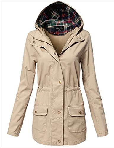 be9b7b03a8 Amazon.com  Plus Size Plaid Hooded Waist Drawstring Utility Jackets  (0646412273375)  Books