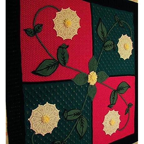 Knit Afghan Pinwheel Flower Burst
