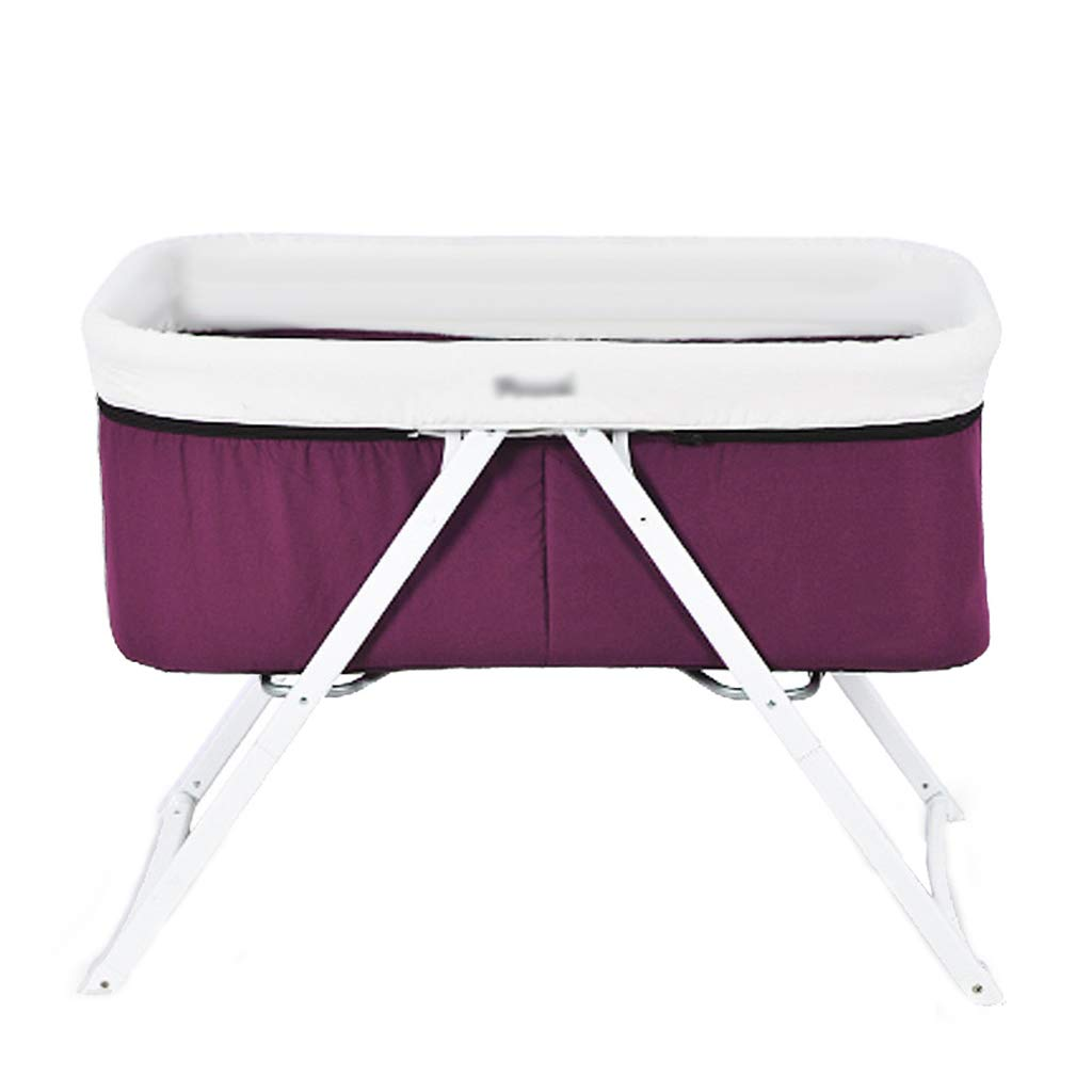 Crib Baby Cot Multifunction Aluminum Alloy Cradle Bed European Style Foldable (Color : Purple)