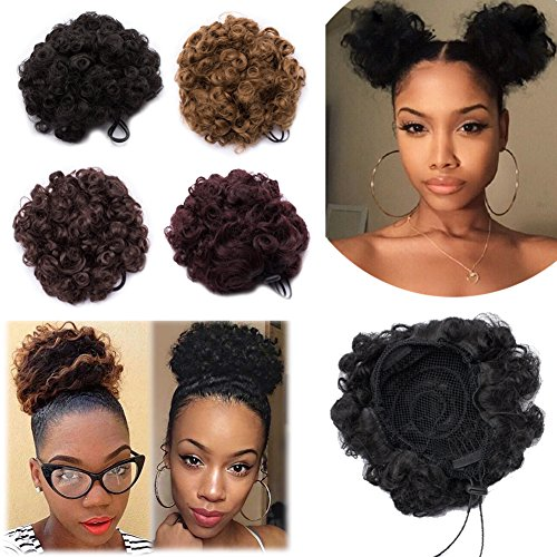 Kinky Curly Updo Fluffy Scrunchy Hairpiece Short Afro Puff Drawstring Ponytail Elastic Chignon Bun Hair Extensions with 2 Clips for African American Women-Natural Black, 2 pcs