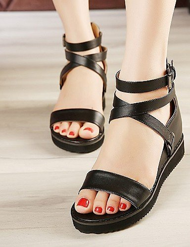 ShangYi Women's Shoes Leatherette Wedge Heel Wedges / Platform Sandals Outdoor / Office & Career / Dress / Casual Black gZGiu