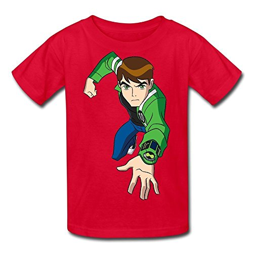 Davidsly Kid's 100% Cotton Ben 10 Funny Generic T-Shirt for Boys&Girls&Youthes Red Large