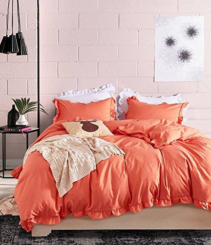 CoutureBridal Ruffled Duvet Cover Set Queen 90x90 Orange Farmhouse Solid Color Bohemian Vintage Bedding Set Quilt Cover with Zipper,3 Pieces 1 Duvet Cover 2 Shams