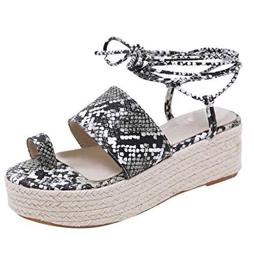 2019 Sharemen Casual Sandals Roman Shoes Straps Wedge Shoes Leopard Toe Thick Platform Women's Shoes(Black,US: 5) by Sharemen Shoes (Image #7)