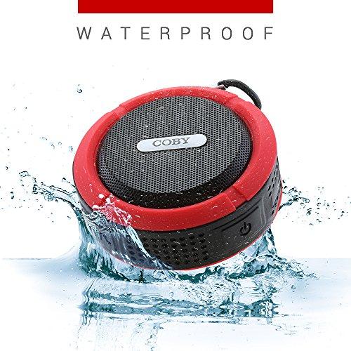 Coby Waterproof Speaker, Shower Speaker,IPX5, Wireless Portable Handheld Bluetooth Speaker Suction Cup, Built in Mic, Handsfree Speakerphone-RED