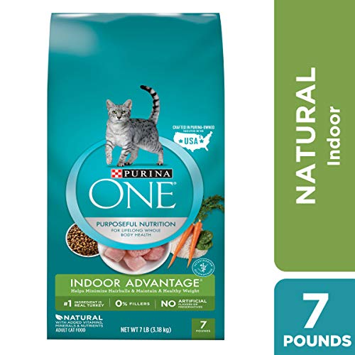 Purina ONE Hairball, Weight Control, Indoor, Natural Dry Cat Food; Indoor Advantage - 7 lb. Bag ()