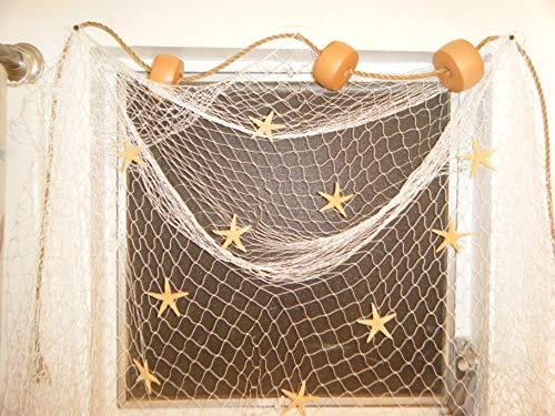 - 10 X 8 Ft Fishing Net Nautical Window Treatment Floats, Starfish, Rope, Decor