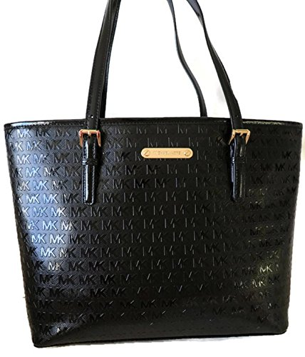 Details about MICHAEL KORS JET SET TRAVEL MEDIUM CARRYALL TOTE BLACK EMBOSSED PATENT LEATHER