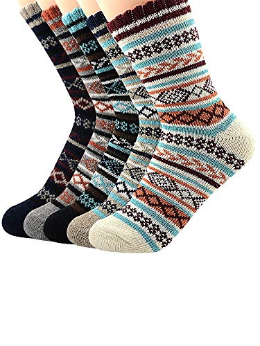 (Urban Virgin Womens Wool Socks Thick Heavy Thermal Fuzzy Winter Warm Snowflake Crew Socks For Cold Weather)