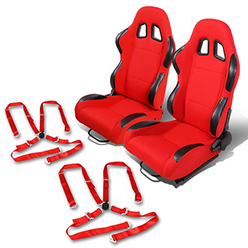 - Pair of RS-001-BK-RD Woven Fabric Reclinable Racing Seat+Red 4-Point Cam Lock Belts